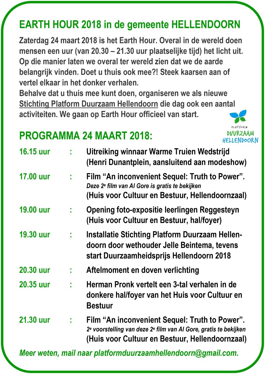 duurzaam hellendoorn Earth Hour 2 2018